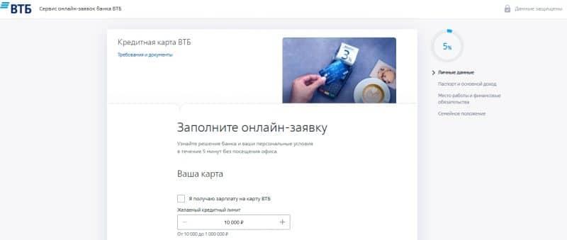 Кредитная карта от банка ВТБ